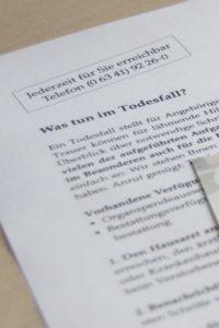 Was tun im Trauerfall - Merkblatt als Download