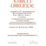 25 Jahre Ehrenurkunde Reber Bestattungen